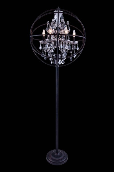 Elegant Decor Geneva Bronze 6 Light Silver Royal Crystal Floor Lamp ELED-1130FL24DB-SS-RC