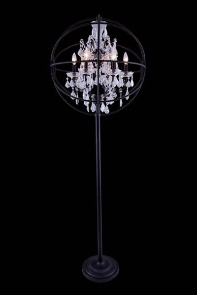 Elegant Decor Geneva Bronze 6 Light Royal Cut Crystal Floor Lamp ELED-1130FL24DB-RC