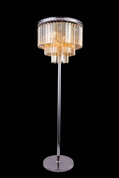 Elegant Decor Sydney Polished Nickel 8 Light Golden Teak Royal Crystal Floor Lamp ELED-1201FL20PN-GT-RC