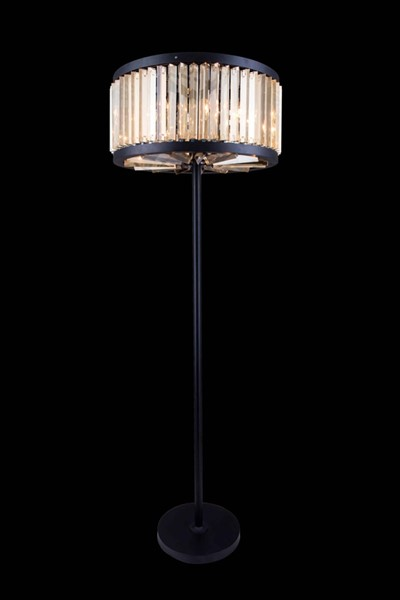 Elegant Decor Chelsea Matte Black 6 Light Golden Teak Royal Crystal Floor Lamp ELED-1203FL25MB-GT-RC