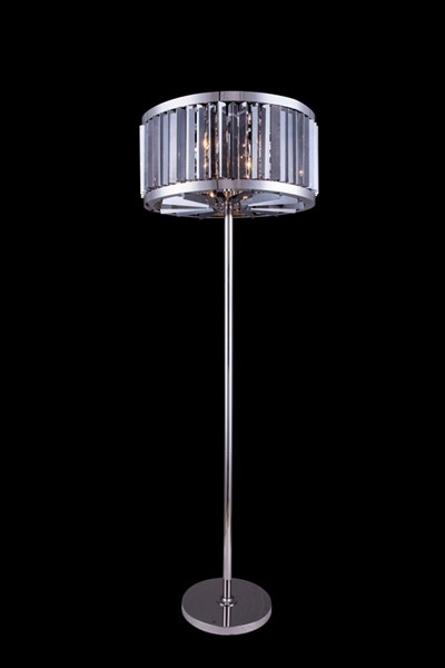 Elegant Decor Chelsea Polished Nickel 6 Light Silver Royal Crystal Floor Lamp ELED-1203FL25PN-SS-RC