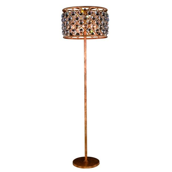 Elegant Decor Madison Golden Iron 4 Light Royal Crystal Floor Lamp ELED-1206FL20GI-RC
