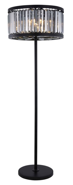 Elegant Decor Chelsea Matte Black 6 Light Silver Royal Cut Crystal Floor Lamp ELED-1233FL25MB-SS-RC