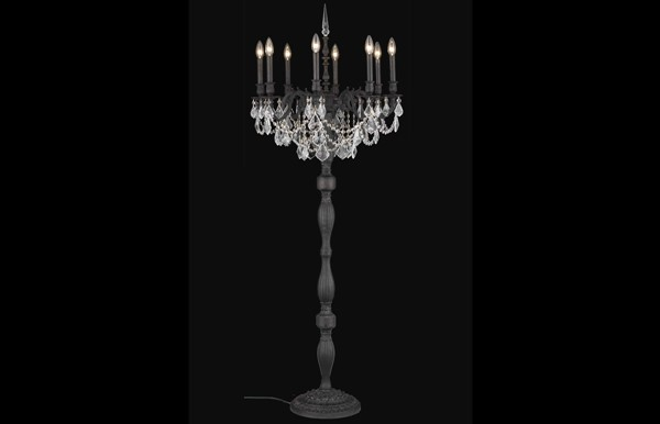 Elegant Decor Rosalia 8 Light Cut Crystal Floor Lamps ELED-9208FL24-SS-LMP-VAR