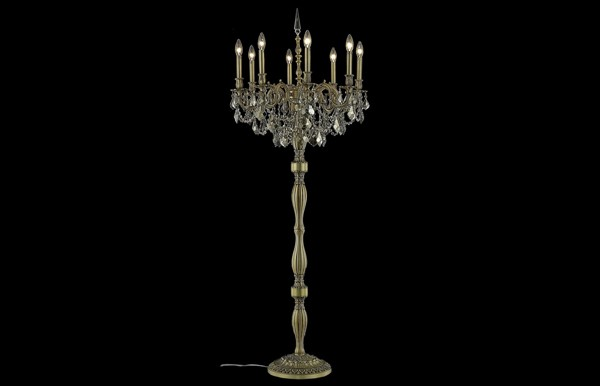 Elegant Decor Rosalia Teak 8 Light Royal Crystal Floor Lamps ELED-9208FL24-GT-RC-LMP-VAR