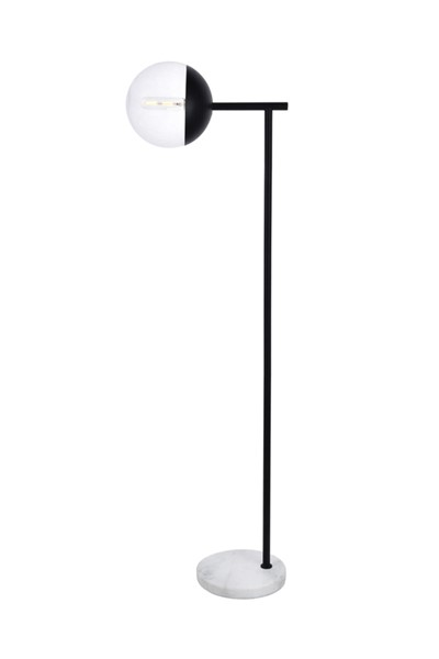 Elegant Decor Eclipse Black Clear Glass 1 Light Floor Lamp ELED-LD6099BK