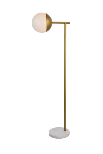 Elegant Decor Eclipse Brass Frosted White Glass 1 Light Floor Lamp ELED-LD6102BR