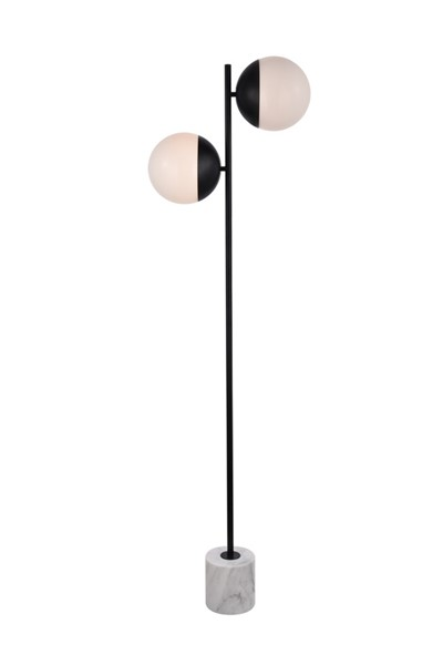 Elegant Decor Eclipse Black Frosted White Glass 2 Lights Floor Lamp ELED-LD6110BK