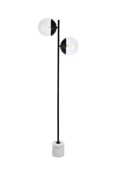 Elegant Decor Eclipse Black Clear Glass 2 Lights Floor Lamp ELED-LD6111BK