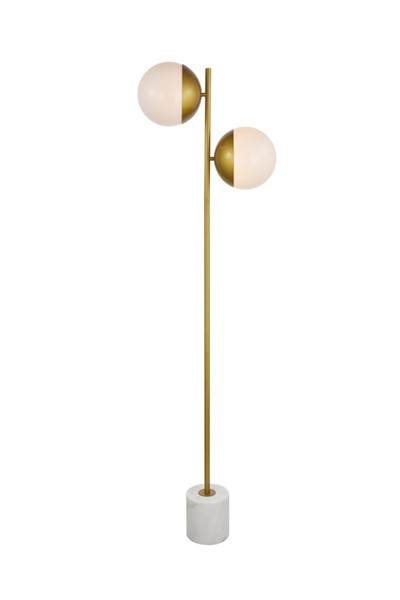 Elegant Decor Eclipse Brass Frosted White Glass 2 Lights Floor Lamp ELED-LD6114BR