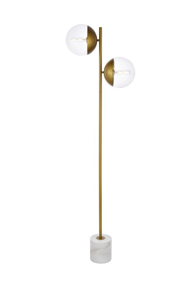 Elegant Decor Eclipse Brass Clear Glass 2 Lights Floor Lamp ELED-LD6115BR