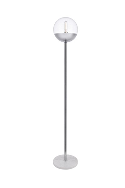 Elegant Decor Eclipse Chrome Clear Glass 1 Light Round Floor Lamp ELED-LD6149C