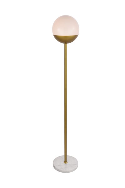 Elegant Decor Eclipse Brass Frosted White Glass 1 Light Round Floor Lamp ELED-LD6150BR
