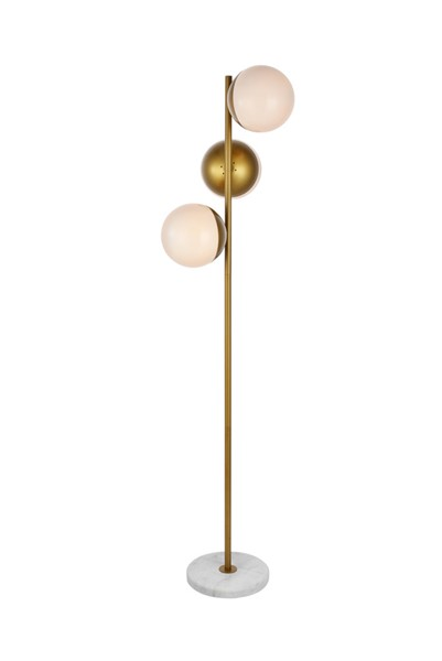 Elegant Decor Eclipse Brass Frosted White Glass 3 Lights Floor Lamp ELED-LD6162BR
