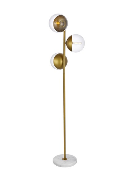 Elegant Decor Eclipse Brass Clear Glass 3 Lights Floor Lamp ELED-LD6163BR