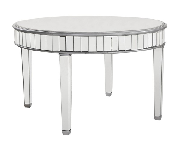 Elegant Decor Contempo Hand Rubbed Silver Round Dining Table ELED-MF6-1008S