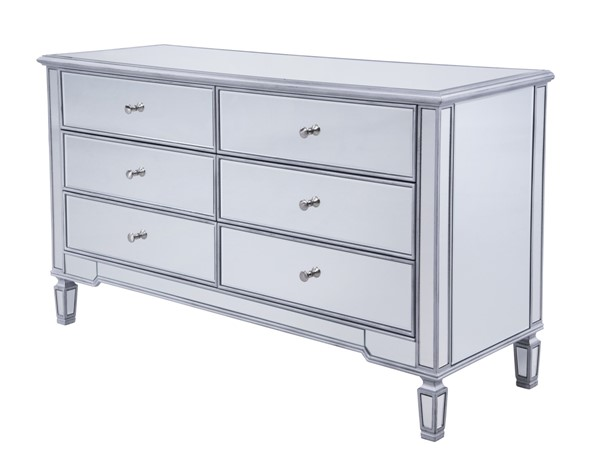 Elegant Decor Contempo Hand Rubbed Silver Six Drawers Cabinet ELED-MF6-1036S