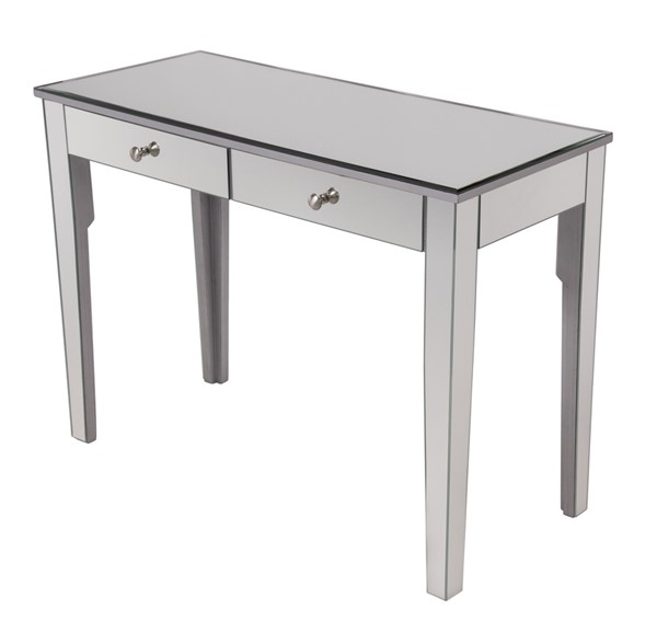 Elegant Decor Contempo Hand Rubbed Silver Two Drawers Dressing Table ELED-MF6-1040S
