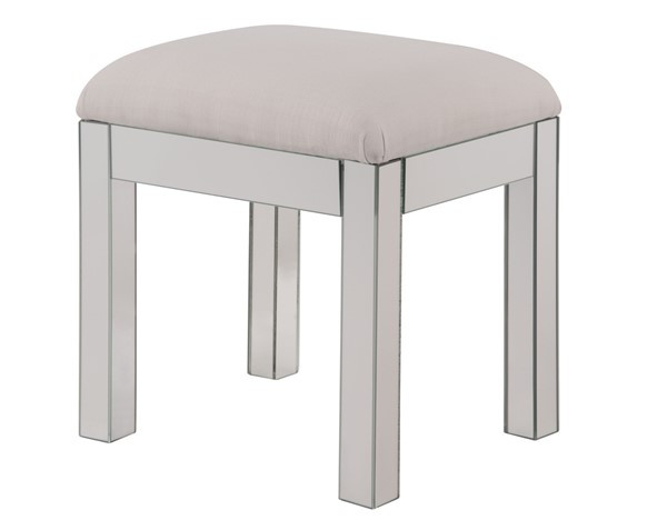 Elegant Decor Contempo Hand Rubbed Silver Clear Dressing Stool ELED-MF6-1041S