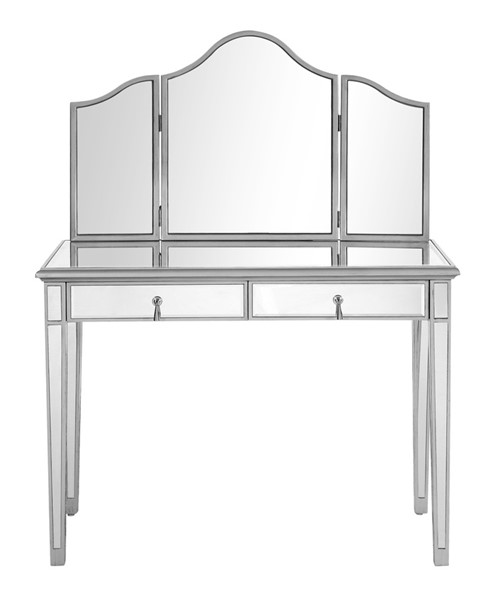 Elegant Decor Contempo Hand Rubbed Silver Vanity Table and Mirror ELED-MF6-2001S