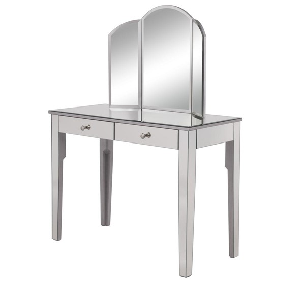 Elegant Decor Contempo Hand Rubbed Silver Vanity Table with Mirror ELED-MF6-2011S