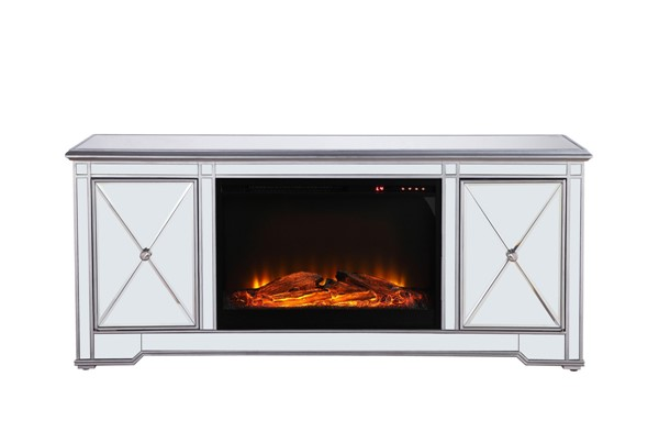 Elegant Decor Modern Silver 60 Inch TV Stand with Wood Fireplace ELED-MF601S-F1