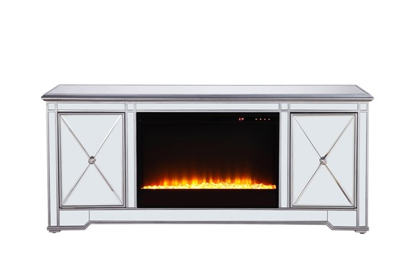 Elegant Decor Modern Silver 60 Inch TV Stand with Crystal Fireplace ELED-MF601S-F2