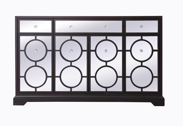 Elegant Decor Modern Dark Walnut 60 Inch Mirrored Credenza ELED-MF81001DT