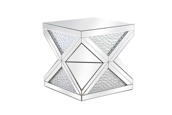 Elegant Decor Modern Clear Mirror 23 Inch Crystal End Table ELED-MF92004