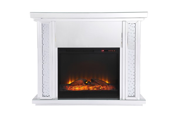 Elegant Decor Modern Clear Mirror 47.5 Inch Mantle with Wood Fireplace ELED-MF9901-F1
