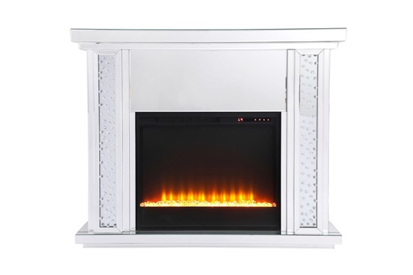 Elegant Decor Modern Clear Mirror 47.5 Inch Mantle with Crystal Fireplace ELED-MF9901-F2