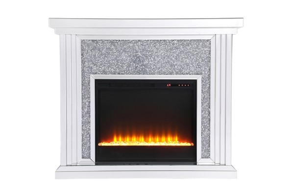 Elegant Decor Modern Clear 47.5 Inch Mantle with Crystal Fireplace ELED-MF9902-F2