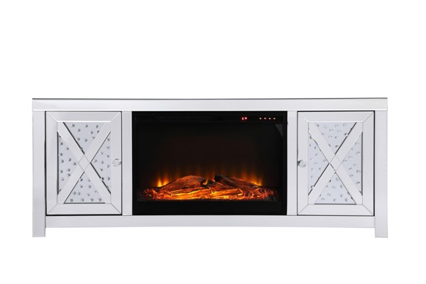 Elegant Decor Modern Clear 59 Inch TV Stand with Wood Fireplace ELED-MF9904-F1