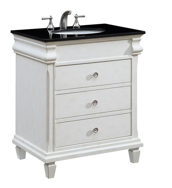 Elegant Decor Hampton White 30 Inch Single Bathroom Vanity Set ELED-VF-1021