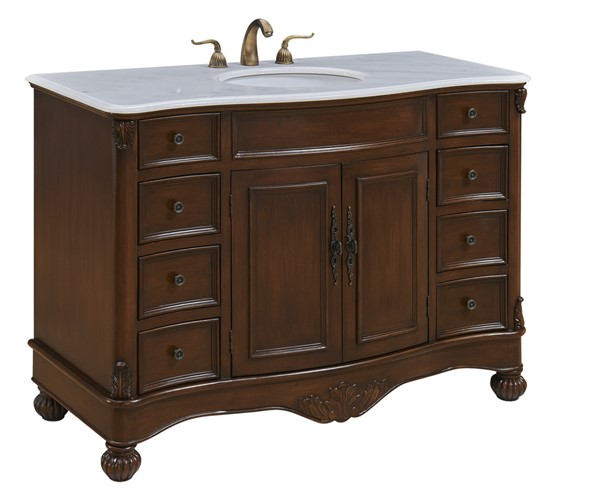 Elegant Decor Windsor Teak 48 Inch Single Bathroom Vanity Set ELED-VF-1034