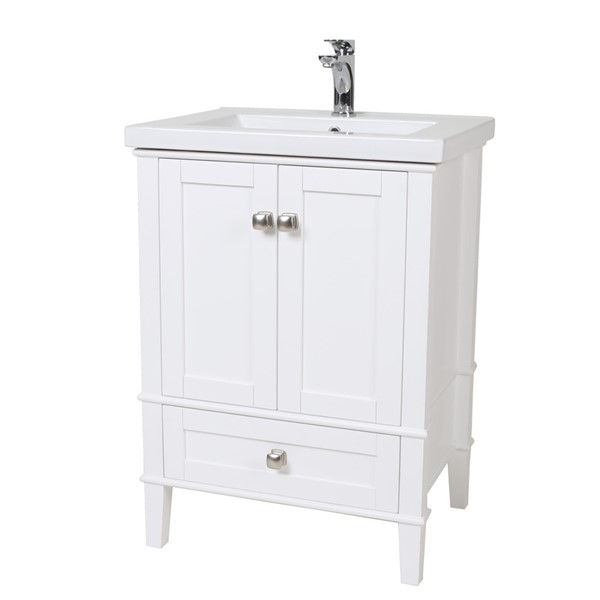 Elegant Decor Aqua White 24 Inch Single Bathroom Vanity Set ELED-VF-2001