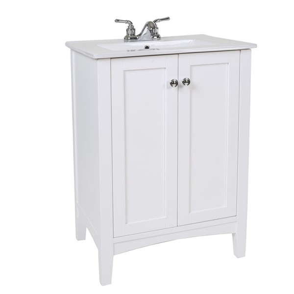 Elegant Decor Mod White 24 Inch Single Bathroom Vanity Set ELED-VF-2003