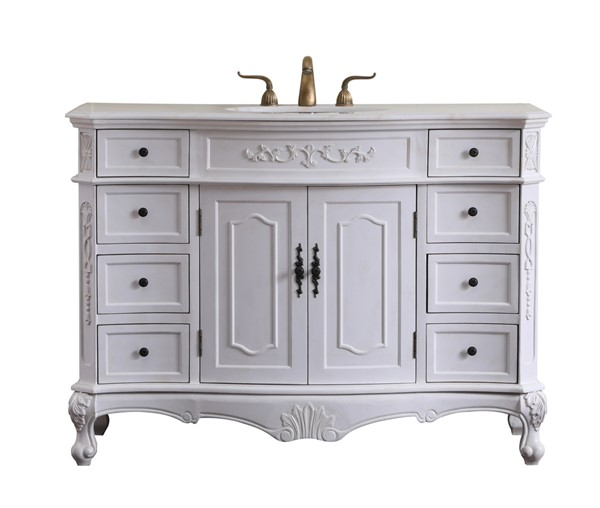 Elegant Decor Danville White 48 Inch Single Bathroom Vanity Set ELED-VF10148AW