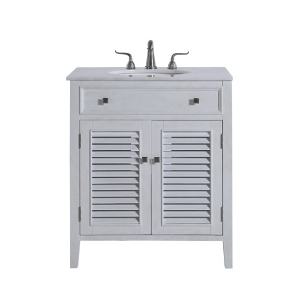 Elegant Decor Cape Cod Antique White 30 Inch Single Bathroom Vanity Set ELED-VF10430AW