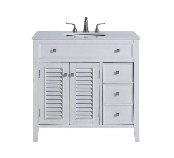 Elegant Decor Cape Cod Antique White 36 Inch Single Bathroom Vanity Set ELED-VF10436AW