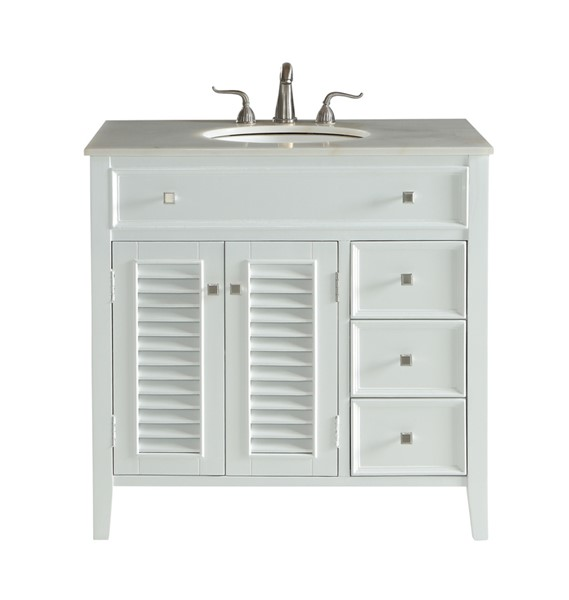 Elegant Decor Cape Cod White 36 Inch Single Bathroom Vanity Set ELED-VF10436WH
