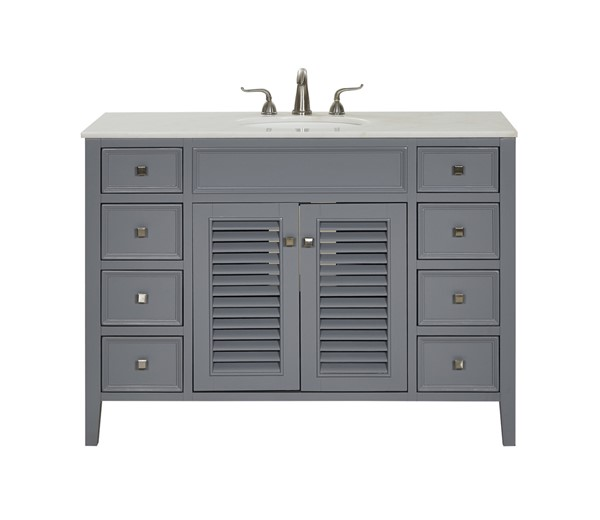 Elegant Decor Cape Cod Grey 48 Inch Single Bathroom Vanity Set ELED-VF10448GR