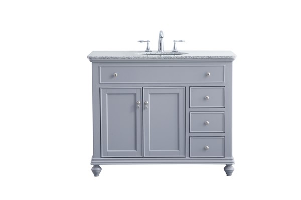 Elegant Decor Otto Light Grey 42 Inch Single Bathroom Vanity Set ELED-VF12342GR