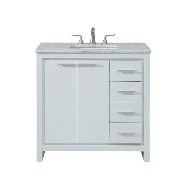 Elegant Decor Filipo White 36 Inch Single Bathroom Vanity Set ELED-VF12836WH