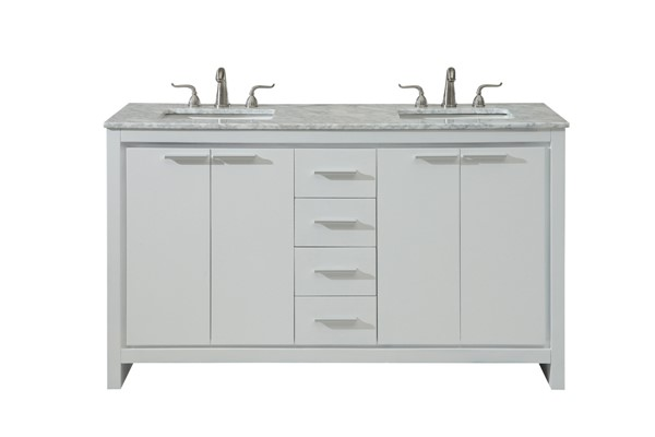 Elegant Decor Filipo White 60 Inch Double Bathroom Vanity Set ELED-VF12860DWH