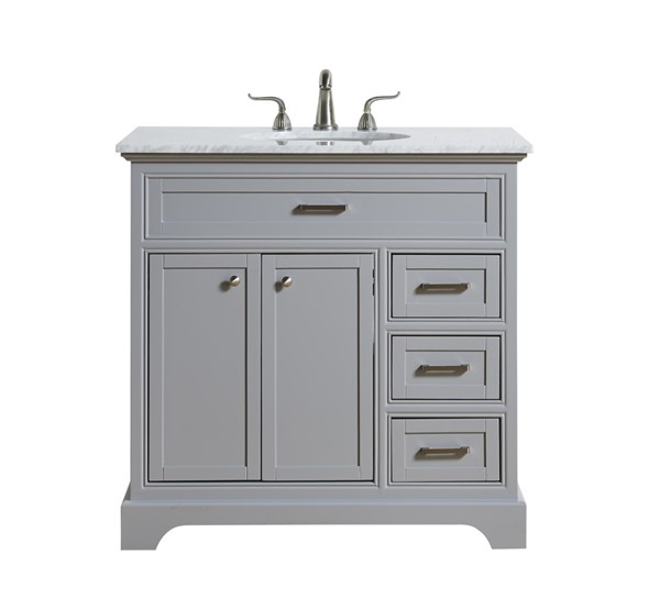 Elegant Decor Americana Light Grey 36 Inch Single Bathroom Vanity Set ELED-VF15036GR