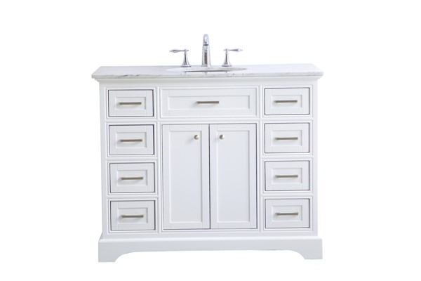 Elegant Decor Americana White 42 Inch Single Bathroom Vanity Set ELED-VF15042WH