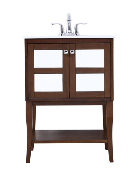 Elegant Decor Mason Coffee 24 Inch Bathroom Mirrored Vanity Set ELED-VF2102MR