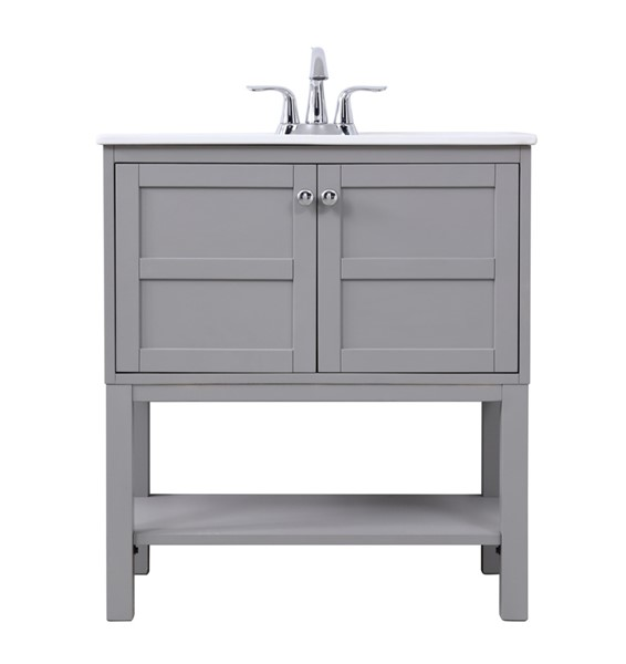 Elegant Decor Mason Grey 30 Inch Single Bathroom Vanity Set ELED-VF2530GR