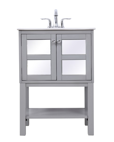 Elegant Decor Mason Grey 24 Inch Single Bathroom Mirrored Vanity Set ELED-VF25MRGR